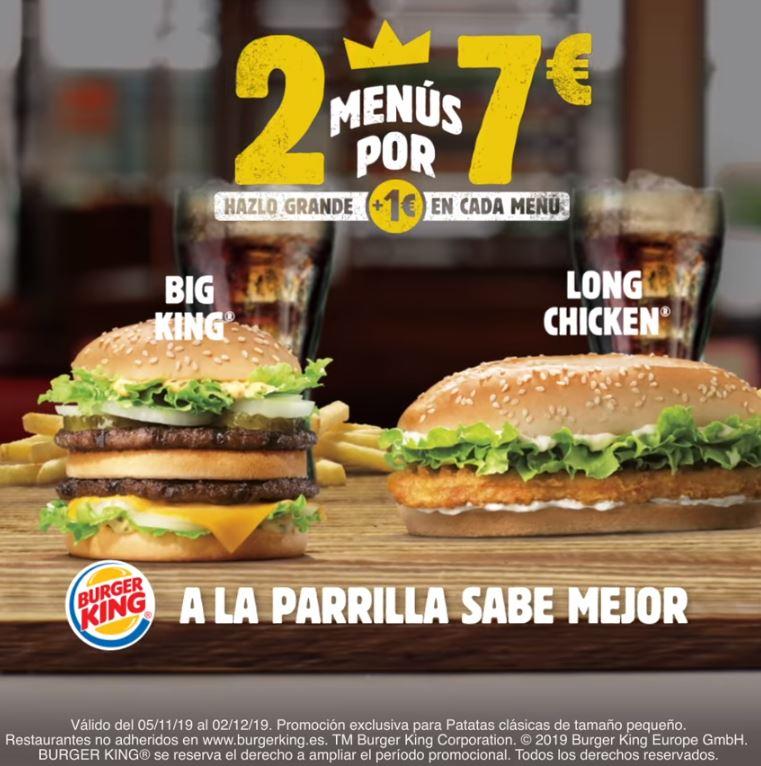 Elige tus 2 menús en Burger King